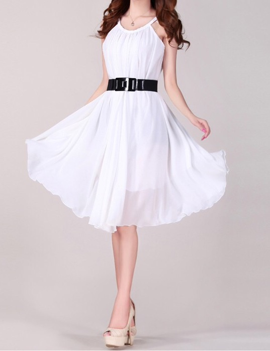Flared chiffon Dress with Belt